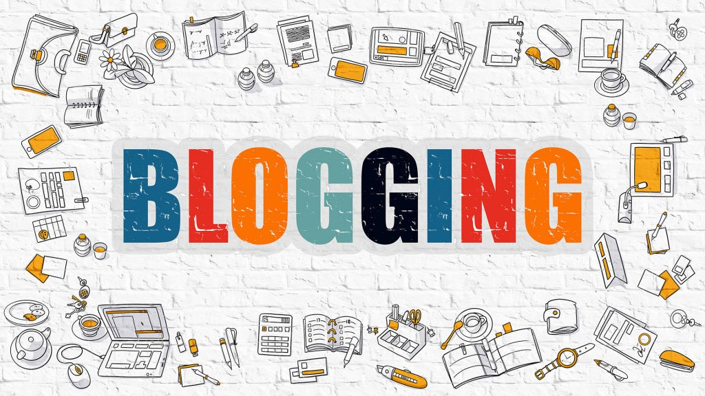 Blogging Concept. Modern Line Style Illustration. Multicolor Blogging Drawn on White Brick Wall. Doodle Icons. Doodle Design Style of  Blogging  Concept.